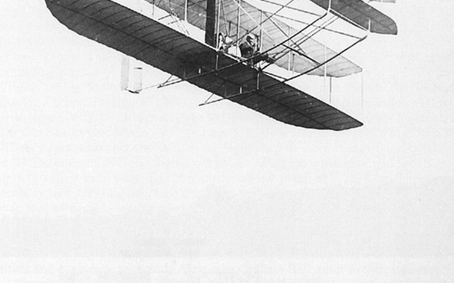 Orville Wright flies his Military Flier over Fort Myer, Va., in 1908, during a series of trials for the U.S. Army in September.