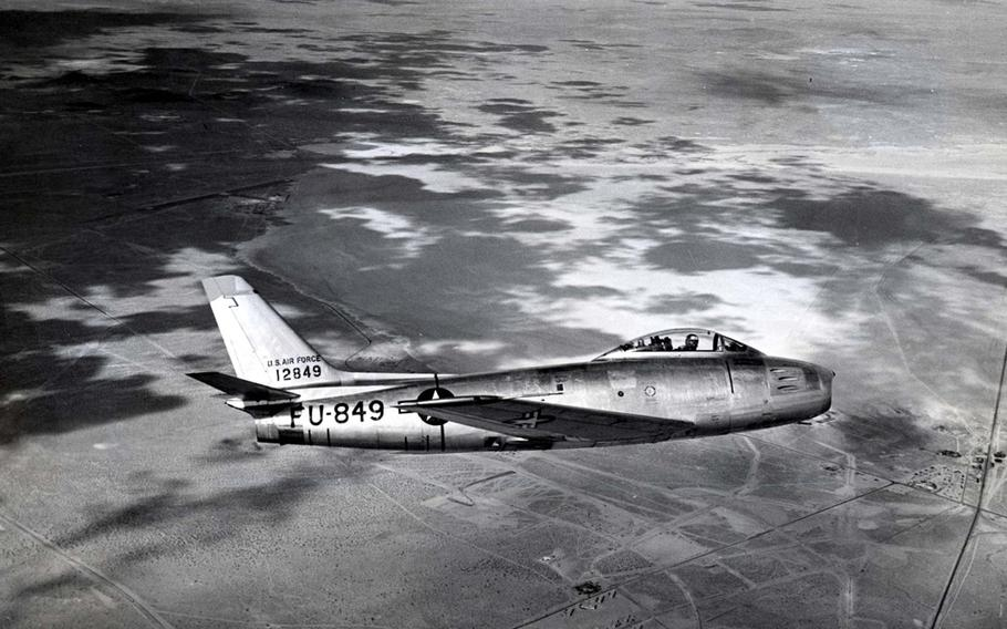 The initial incarnations of the F-86 Sabre saw action during the Cold War, going head-to-head with Russian MiGs during the Korean War. The original F-86A made its first flight in 1947, with the F-86E, pictured, and F-86F being the most produced models. The F-86 set the new world speed record in 1948 and could top out at 685 mph. During combat it carried six machine guns and either rockets or 2,000 pounds of bombs.