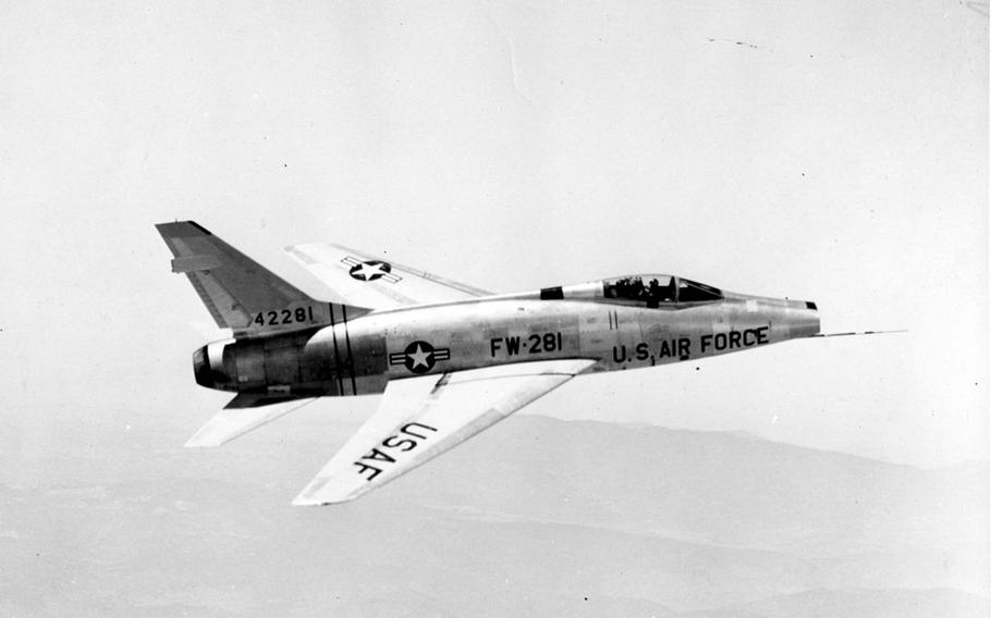 The North American F-100D was the world's first airplane capable of flying faster than the speed of sound, or 760 mph. When production ended in 1959, 2,294 of the aircraft had been built, most featuring cannon, missile, rocket and bomb warfare capability.