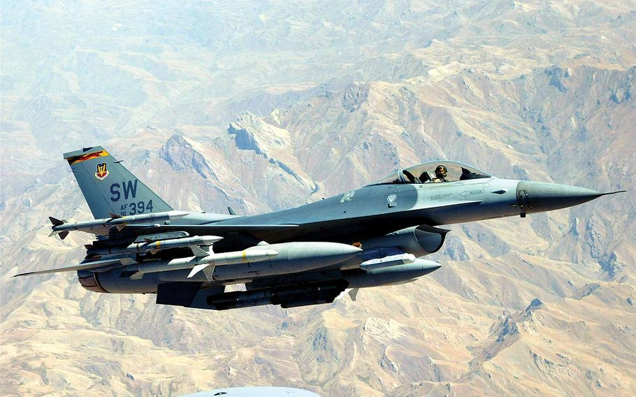 Development of the F-16A fighter began in the 1970s and the more popular, upgraded F-16C came in the early 1980s. The jet, used by many other countries—including Israel, Egypt and South Korea—can fly 1,500 mph and carry up to 12,000 pounds of missiles and bombs.