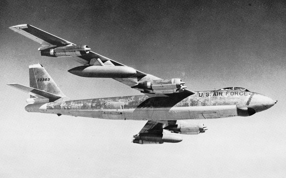 Like the B-29 before it, Boeing made countless versions of the B-47 bomber, but started making the B-47E in 1953 and built 1,591 through the middle of the 1960s. The B-47E had rocket assisted takeoff packs from General Electric, could fly over 600 mph and had a range of about 3,500 miles, depending on payload.