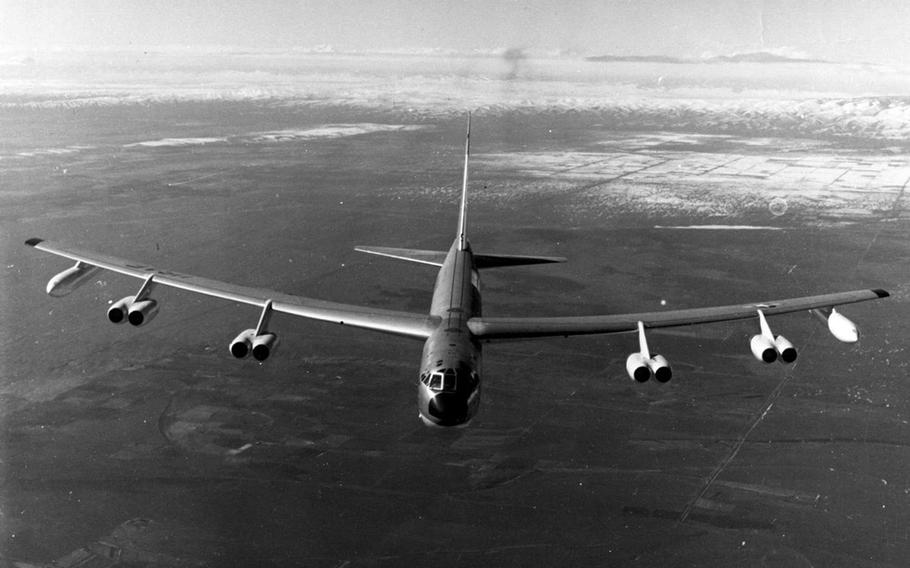 The first B-52s were ordered in 1951, and several Stratofortress versions later the Boeing B-52D was used extensively in the Vietnam War. The six person crew could reach a top speed of 638 mph, and had a range of 3,305 miles while carrying up to 60,000 pounds of bombs.