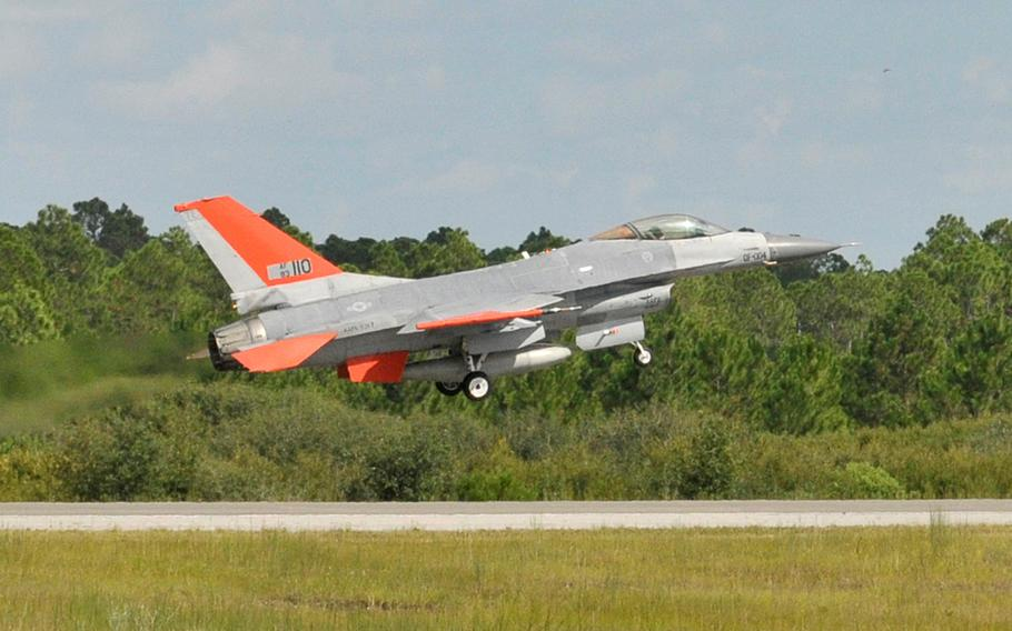 The QF-16 drone jet makes its first takeoff at Tyndall Air Force Base, Fla., Sept. 19, 2013.