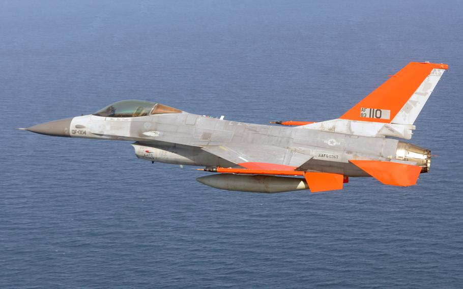 The drone QF-16 makes its first test flight over the Gulf of Mexico, Sept. 19, 2013.