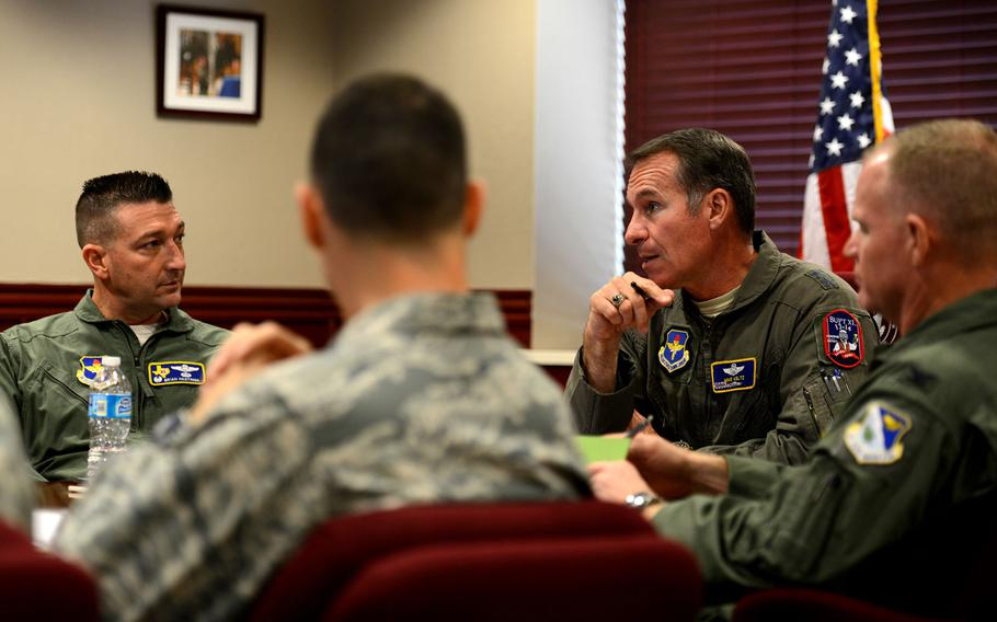 In this file photo from Jan. 7, 2015, Maj. Gen. Michael A. Keltz, 19th Air Force commander, Joint Base San Antonio-Randolph, Texas, discusses current issues around the Air Force with leadership in the wing conference room at Laughlin Air Force Base, Texas.