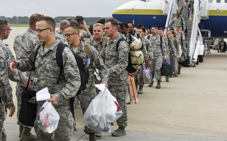 U.S. airmen return to Joint Base Langley-Eustis, Va., on Thursday, Oct. 12, 2017, after a six-month deployment in the Middle East supporting the 27th Fighter Squadron's mission in Operation Inherent Resolve.