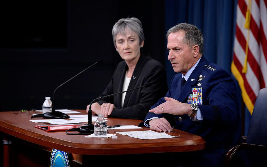 Secretary of the Air Force Heather Wilson and Air Force Chief of Staff Gen. David L. Goldfein answer a question during the State of the Air Force address at the Pentagon, Washington, D.C., Nov. 9, 2017.