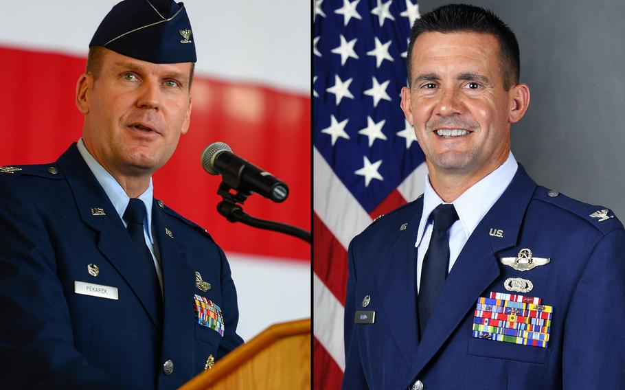 The Air Education and Training Command announced Wednesday, Oct. 30, 2018, that the 47th Flying Training Wing Commander Col. Charles Velino, right, was relieved of command. The announcement also said the wing's operations group commander and and a flying training squadron commander were relieved of duty. Col. Robert Pekarek, seen at left, was the 47th Operations Group commander.