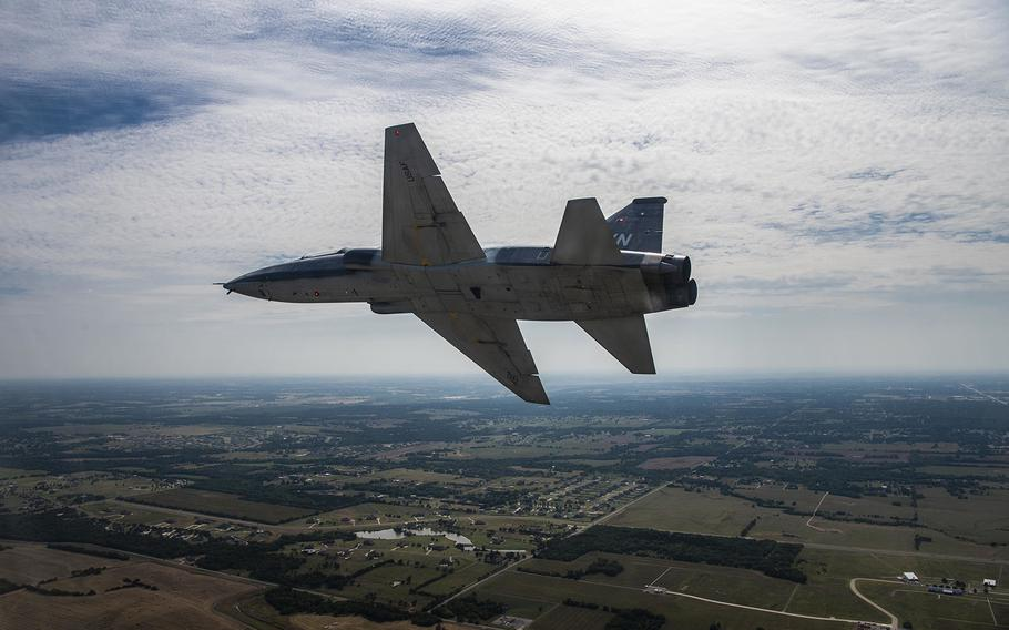 A pilot from the 71st Flying Training Wing soars through the sky in a T-38C Talon on July 26, 2019, over Oklahoma. The T-38 Talon is a twin-engine, high-altitude, supersonic jet trainer used in a variety of roles across the Air Force.