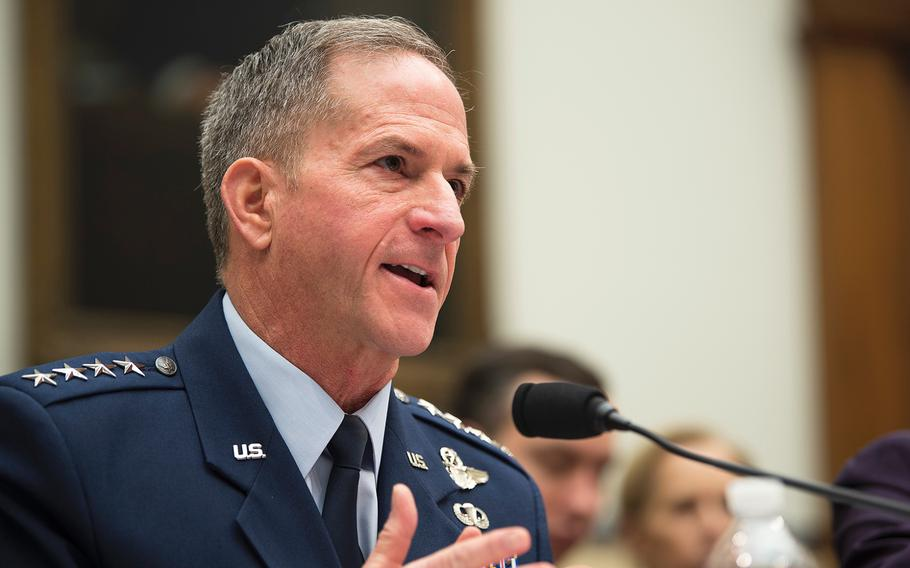 Air Force Chief of Staff David Goldfein testifies during a House Armed Services Committee hearing on Capitol Hill in Washington on Wednesday, March 4, 2020.