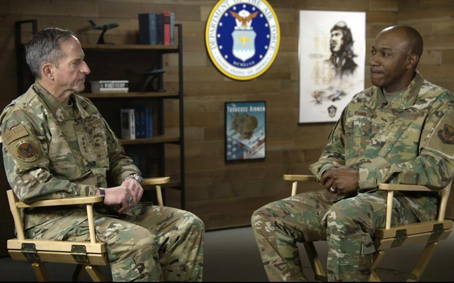 Air Force Chief of Staff Gen. David Goldfein, left, and Chief Master Sgt. of the Air Force Kaleth O. Wright discuss race and the Air Force in this screenshot from a video presentation on June 1, 2020.