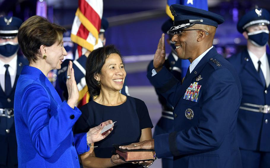 Secretary of the Air Force Barbara M. Barrett administers the oath of office to incoming Air Force Chief of Staff Gen. Charles Q. Brown Jr. during the CSAF Transfer of Responsibility ceremony at Joint Base Andrews, Md., Aug. 6, 2020. Brown is the 22nd Chief of Staff of the Air Force.