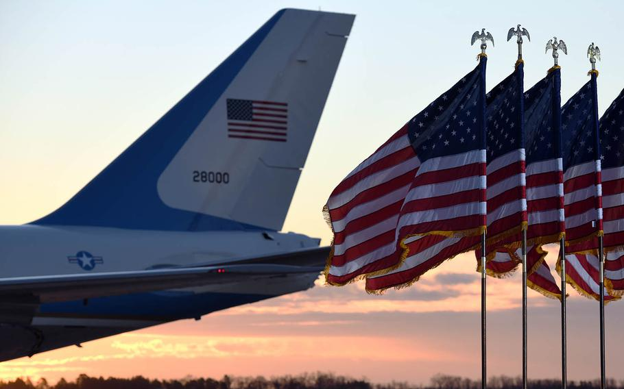 Air Force One parks on the flight line at Joint Base Andrews, Md., Jan. 20, 2021.