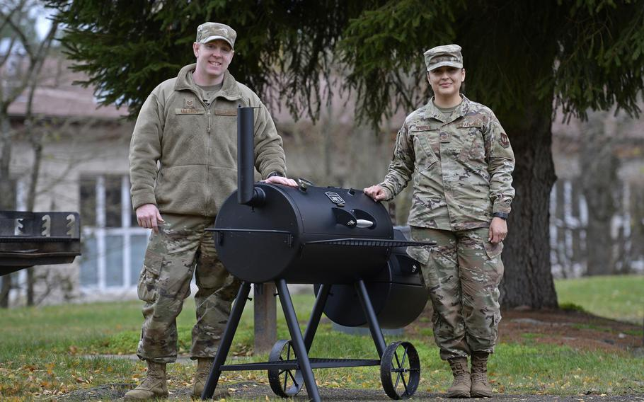 Tech Sgt. Christopher McLeroy, left, and Tech Sgt. Rosario Warren, airman dorm leaders, are organizing lunch for dormitory residents and their guests on Kapaun Air Station, Germany.