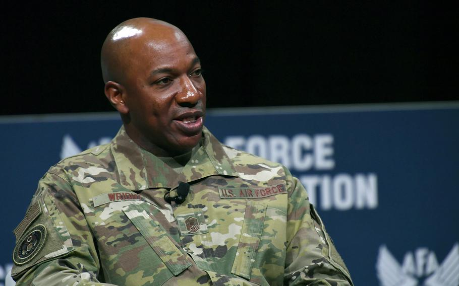 Chief Master Sergeant of the Air Force Kaleth O. Wright speaks during the Air Force Association's Air Warfare Symposium in Orlando, Fla., Feb. 27, 2020.