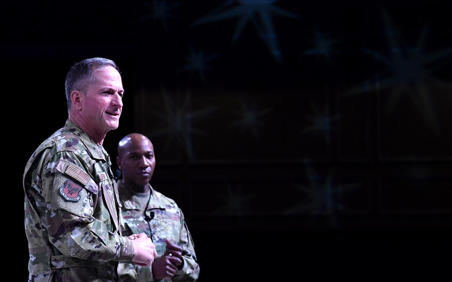 Air Force Chief of Staff Gen. David Golfein and Chief Master Sgt. of the Air Force Kaleth O. Wright speak during a symposium in Orlando, Fla., March 1, 2019.