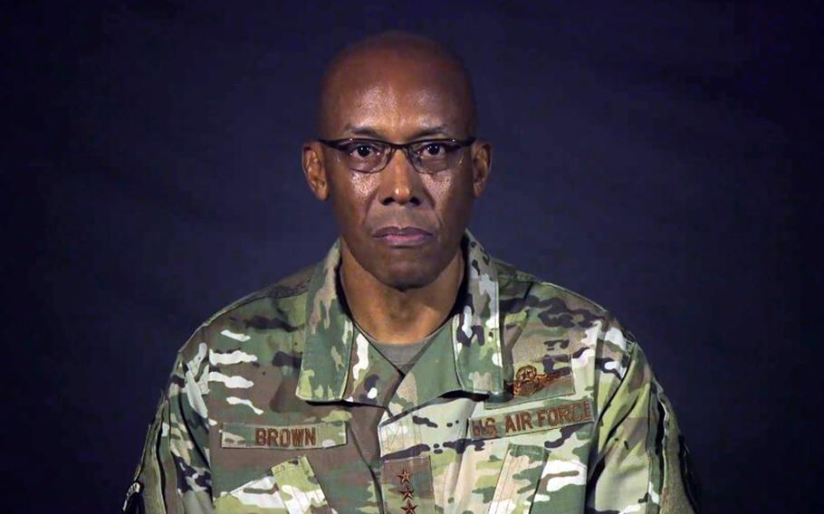 Pacific Air Forces commander Gen. Charles Q. Brown Jr. speaks about racial unrest over the killing of George Floyd in this screenshot from a video posted on Friday, June 5, 2020.