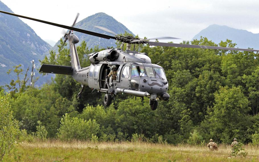 Airmen with the 57th Rescue Squadron, Aviano Air Base, Italy, attempt in an exercise to locate a downed pilot from a contested area during Operation Porcupine, which took place in Osoppo, about 37 miles from Aviano on June 30, 2020.