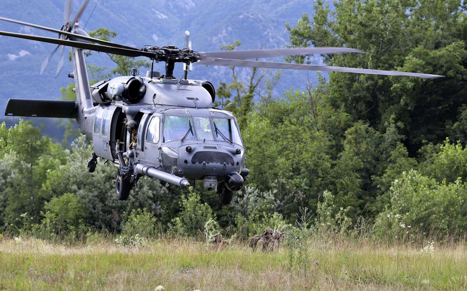 Airmen with the 57th Rescue Squadron, Aviano Air Base, Italy, attempt in an exercise to locate a downed pilot in a contested area during Operation Porcupine, which took place in Osoppo, about 37 miles from Aviano on June 30, 2020.
