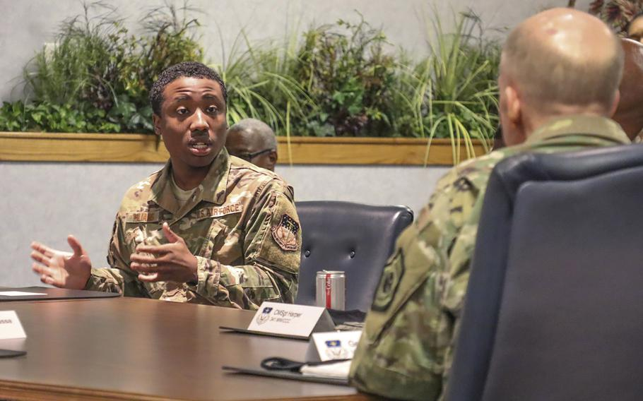 Senior Airman Jaden Williams shares his experiences about racial inequality during a diversity discussion with Vice Chief of Staff of the Air Force Gen. Stephen Wilson at Malmstrom Air Force Base, Mont., June 11, 2020.
