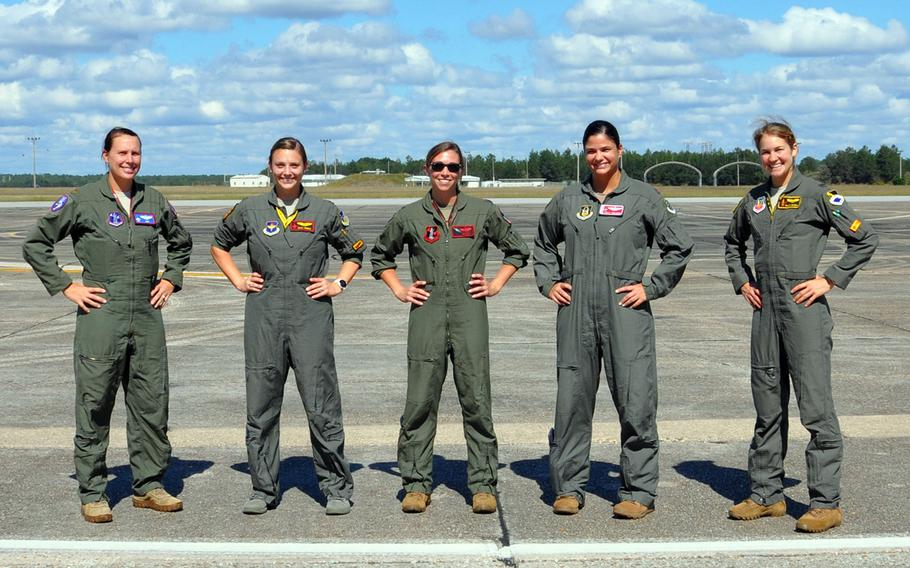 Five fighter pilots from various squadrons wear a modified version of the advanced technology anti-gravity suit during flight testing at Eglin Air Force Base, Fla., Oct. 26-30, 2020.