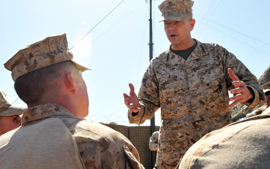 Gen. John R. Allen speaks to a group of Marines at Forward Operating Base Marjah in Afghanistan on March 5, 2012.