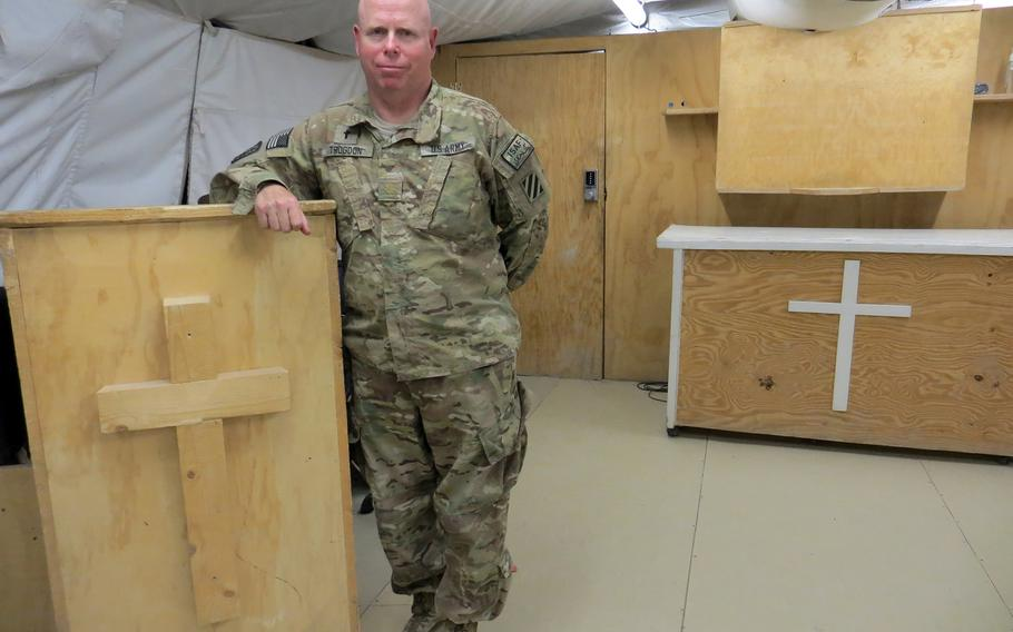 """Maj. David Trogdon, chaplain of the 3rd Infantry Division's 4th Brigade Combat Team stationed in Afghanistan's Logar province, suffers from PTSD. """"If I can help reduce the stigma, then it's worth me talking about it,"""" he said."""
