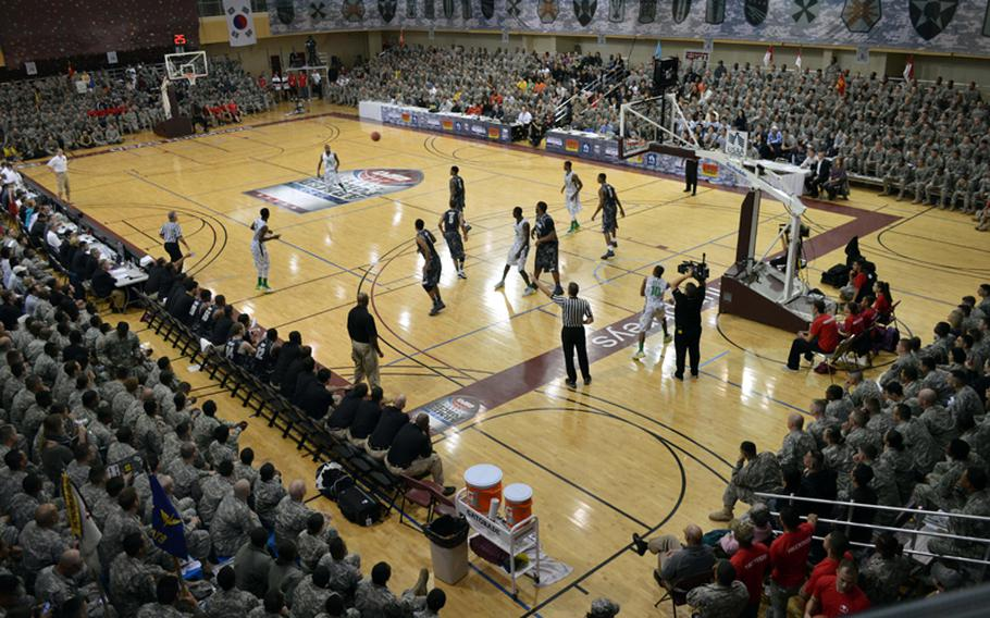 Oregon and Georgetown kicked off their NCAA season at Camp Humphreys, South Korea, on Saturday, Nov. 9, 2013, during the 2013 Armed Forces Classic. The Ducks beat the Hoyas 82-75.