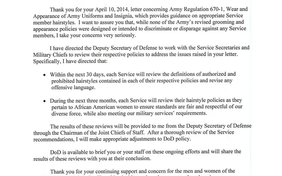 Defense Secretary Chuck Hagel sent identical letters to each of the Congressional Black Caucus members who protested the Army's updated regulation on permissible hair styles.  One is shown here.
