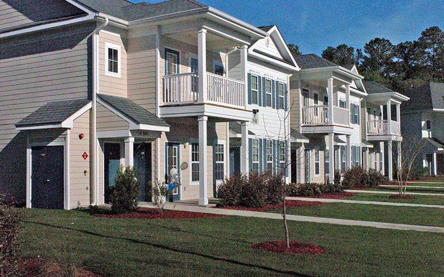More than 86,000 residents live in privatized on-base housing, such as these houses at Fort Stewart, Ga.