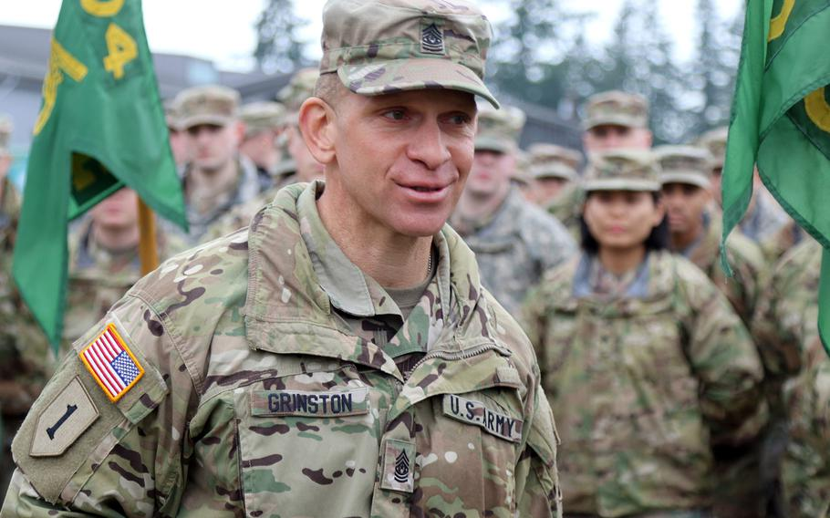 Command Sgt. Maj. Michael Grinston addresses soldiers during a ceremony to present the FORSCOM Eagle Award on Jan. 9 2019. Grinston on Friday, Aug. 9, 2019, became the 16th sergeant major of the Army.