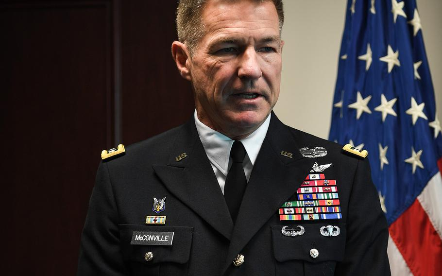 Gen. James C. McConville hosts a promotion ceremony in honor of his son, Cpt. Ryan McConville at the Pentagon in Arlington, Va., May 2, 2019. McConville was sworn in Friday, Aug. 9, 2019, as the Army's 40th chief of staff.