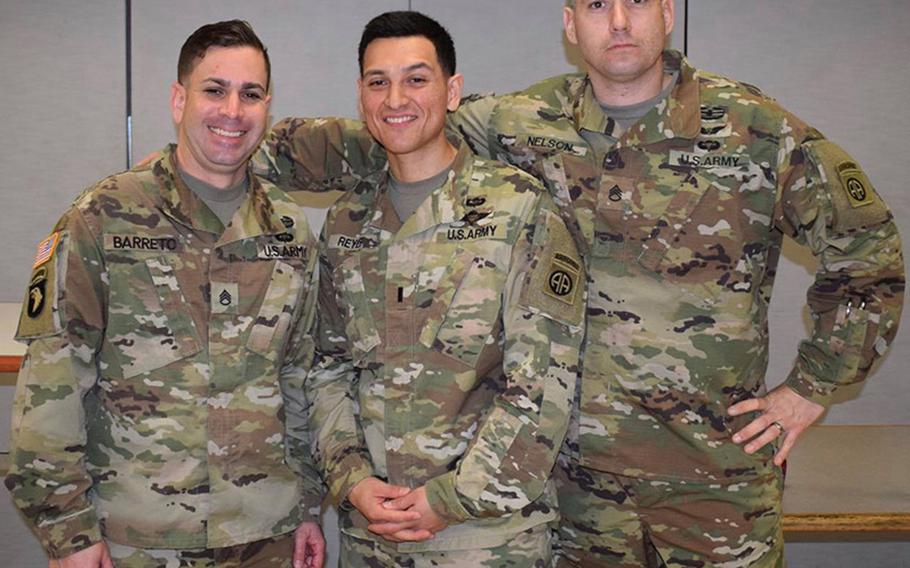 Sgt. 1st Class Elis A. Barreto Ortiz, 34, left, from Morovis, Puerto Rico, died when a vehicle-borne improvised explosive device detonated near his vehicle, the Pentagon said in a statement Friday, Sept. 6, 2019.
