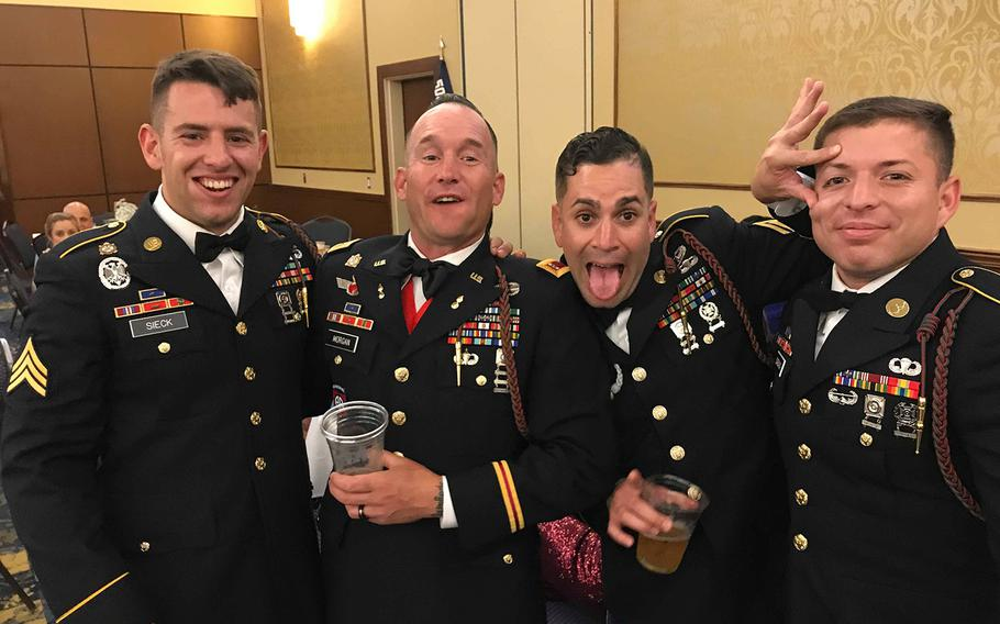 Sgt. 1st Class Elis A. Barreto Ortiz, 34, third from right, died when a vehicle-borne improvised explosive device detonated near his vehicle, the Pentagon said in a statement Friday, Sept. 6, 2019.