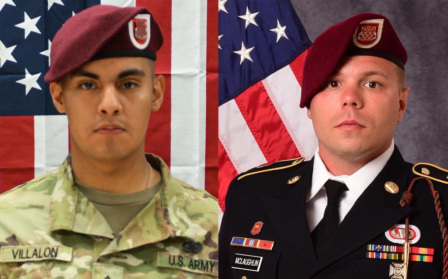 Pfc. Miguel Angel Villalon, left, and Staff Sgt. Ian Paul McLaughlin