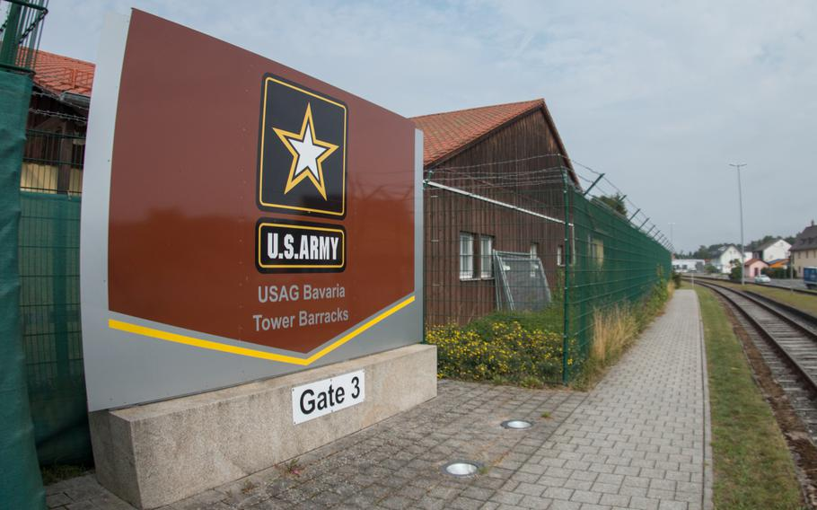Gate 3 at Tower Barracks in Grafenwoehr, Germany. A suspicious item, possibly unexploded World War II-era ordnance, was found outside the barracks on Wednesday, Oct. 18, 2017.