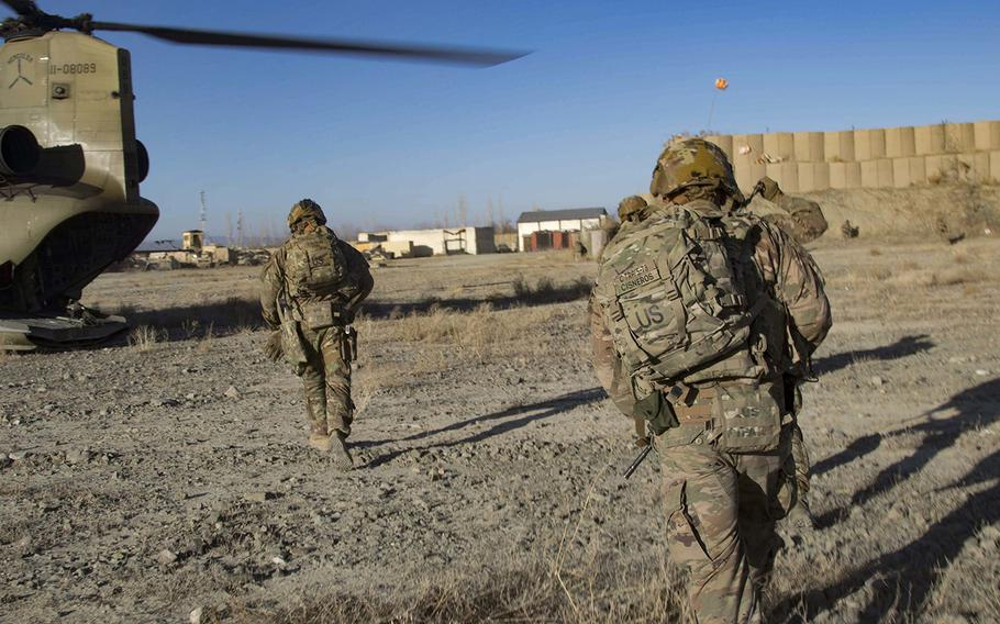 Paratroopers assigned to C Troop, 5th Squadron, 73rd Cavalry Regiment, 3rd Brigade Combat Team, 82nd Airborne Division in in Southeastern Afghanistan on Dec. 29, 2019.