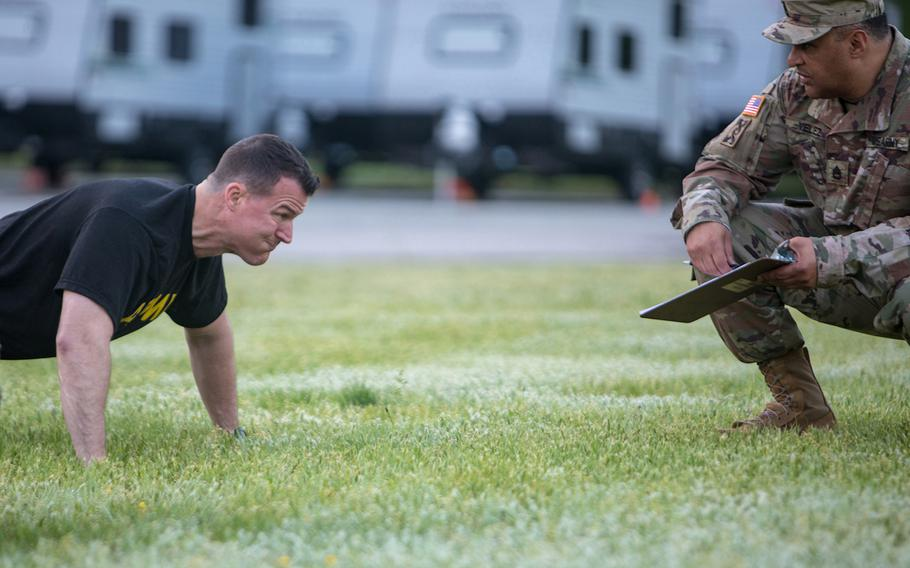 Soldiers from the U.S. Army Medical Command participate their semiannual physical fitness test on May 5, 2019, at Fort Belvoir, Va.