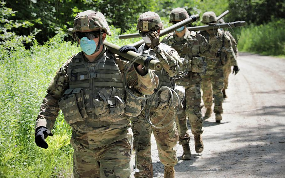 New York Army National Guard Soldiers assigned to Bravo Company, 152 Brigade Engineer Battalion conduct demolition training at Fort Drum, N.Y., on July 15, 2020.  Jul. 15.
