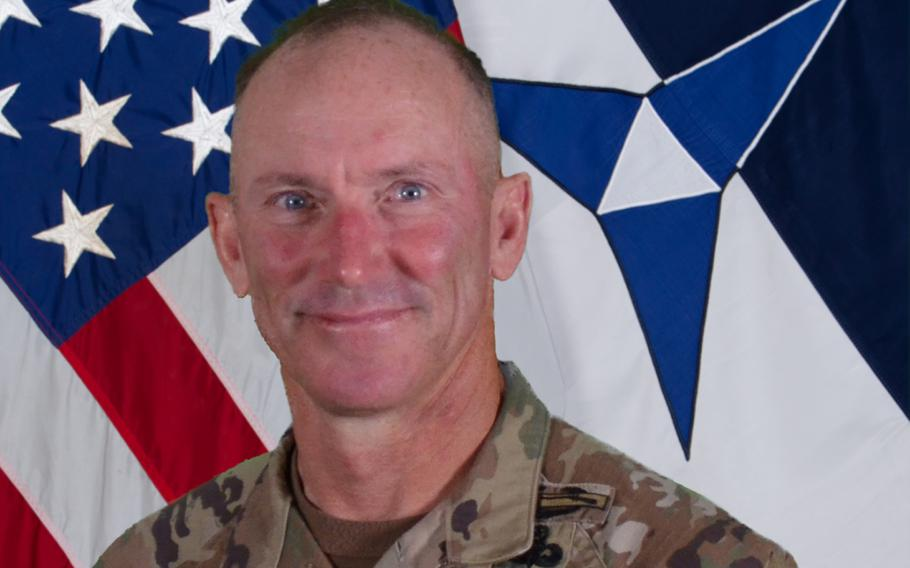 """Command Sgt. Maj. Arthur """"Cliff"""" Burgoyne, the senior noncommissioned officer of III Corps and Fort Hood, was temporarily suspended Friday for allegations of """"unprofessional language inconsistent with Army values,"""" according to service officials."""