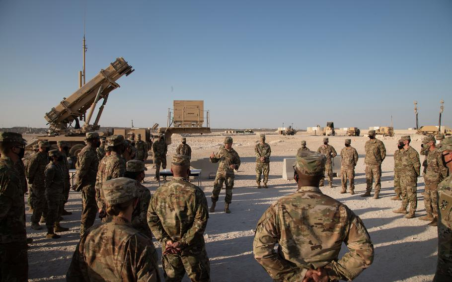 Sergeant Major of the Army, Michael A. Grinston, speaks to Soldiers of 11th Air Defense Artillery Brigade during a visit to Al Udeid Airbase, Qatar, Dec. 17, 2020.
