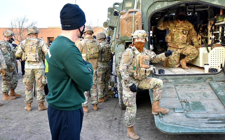 Col. Kevin Bradley, 3rd Cavalry Regiment Commander, observes as Sgt. Eve Miller discusses digital capabilities during a Fires Demonstration on Jan. 28, 2021, at Fort Hood.