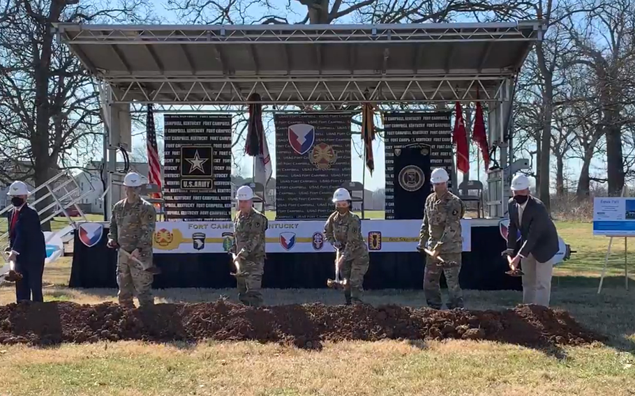 Officials from the Army and Lendlease on Thursday, March 4, 2021, mark the first of two housing projects that will build or renovate about 1,200 homes at Fort Campbell, Ky., Construction will continue for the next five to 10 years and focus on housing for junior enlisted personnel.