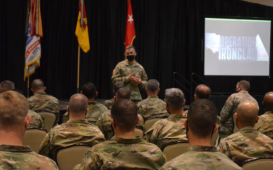 Maj. Gen. Sean Bernabe, commander of 1st Armored Division and Fort Bliss, Texas, hosted a summit Thursday, March 11, 2021, on preventing sexual assault and harassment on base with battalion command teams.