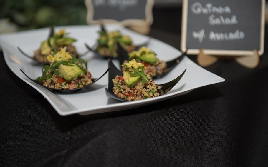 Stuffed avocado with quinoa salad dishes wait to be sampled by guests at the Always Ready Warrior Restaurant at Fort Hood, Texas, March 12, 2021.