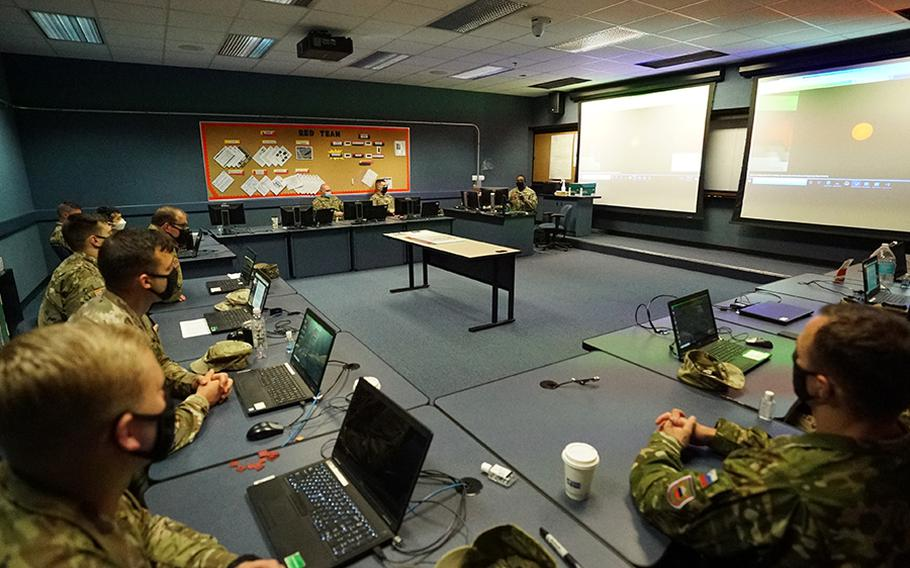 Soldiers at the Fort Sill Non-Commissioned Officer's Academy in Oklahoma meet for their extremism stand-down in March 2021.
