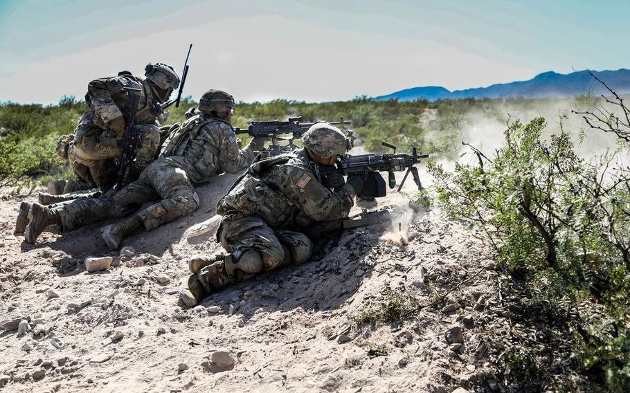 """Soldiers with Company A, 4th Battalion """"Regulars"""", 6th Infantry Regiment, 3rd Armored Brigade Combat Team, 1st Armored Division, conducted squad live-fire exercises at Fort Bliss, Texas, Oct. 7-18, 2019."""
