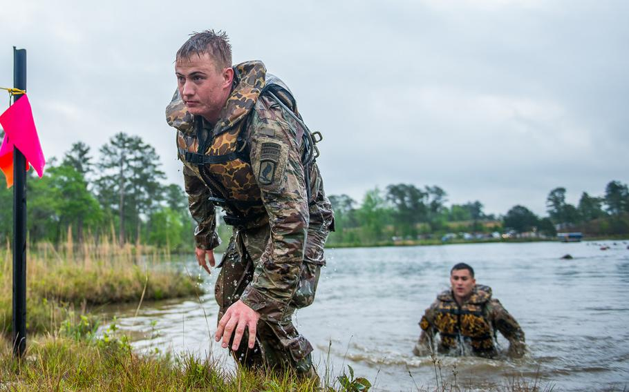 U.S. Army Rangers complete a swimming event at Fort Benning, Ga., during the challenging Best Ranger Competition, part of the annual Infantry Week competition in April 2019.