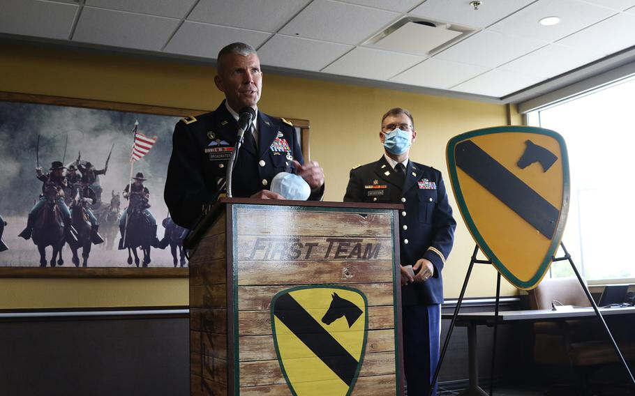 Maj. Gen. Jeffery Broadwater, commanding general, 1st Cavalry Division, speaks at a press conference held Aug. 26, 2020 at Fort Hood.