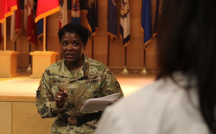 Maj. Gen Donna Martin, Army provost marshal general and commander of Army Criminal Investigation Command, at Aberdeen Proving Ground's Black History Month Observance on Feb. 23, 2021. Martin announced a restructuring of the criminal investigative agency on Thursday, May 6, 2021.